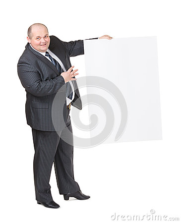 Homem excesso de peso alegre com um sinal vazio