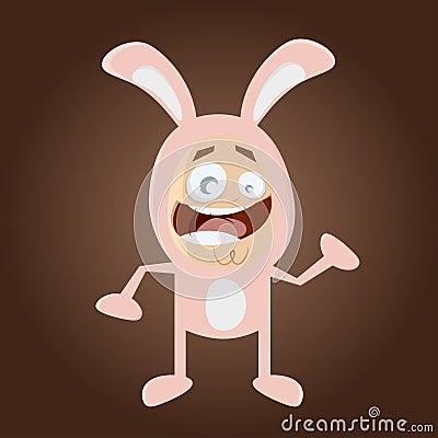 Homem feliz dos desenhos animados no traje do coelho