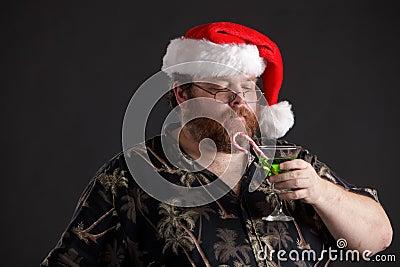 Homem obeso no chapéu de Santa