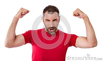 Homem que gesticula a vitória