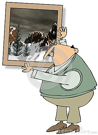 Homem que pendura uma grande pintura