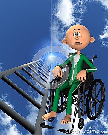 Homem virado na cadeira de rodas