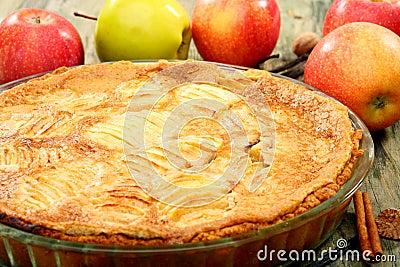 Homemade apple pie closeup.