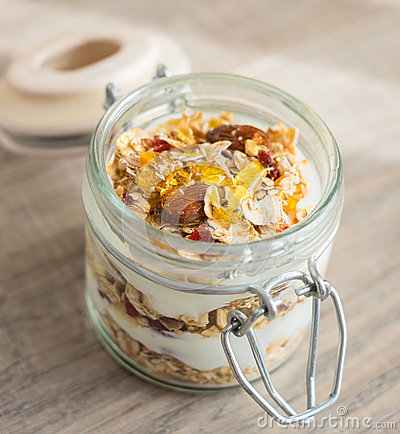 Homemade Bircher Muesli With Toasted Rolled Oats Stock Photo - Image ...