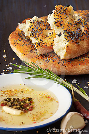 Homemade bread and dip.