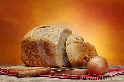 Homemade bread and  onion