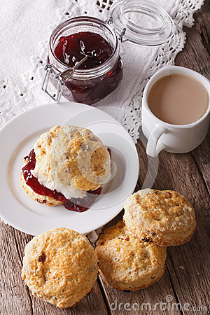 Free Homemade Buns With Jam And Tea With Milk Close-up. Vertical Royalty Free Stock Photo - 62896755