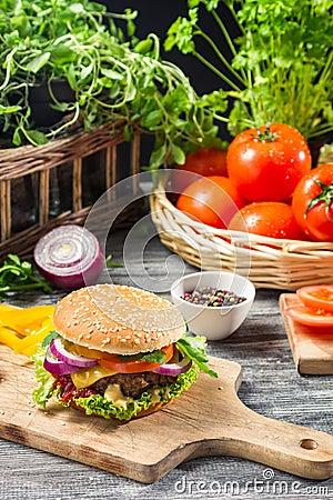Homemade burger made from fresh vegetables
