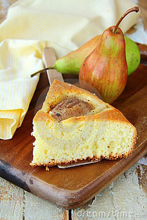Homemade cake with pears