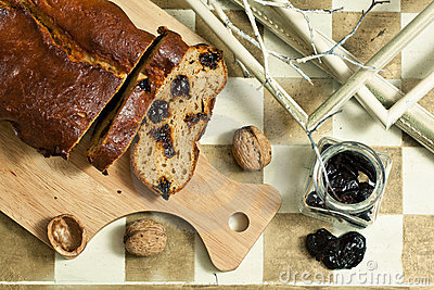 Homemade cake with prunes