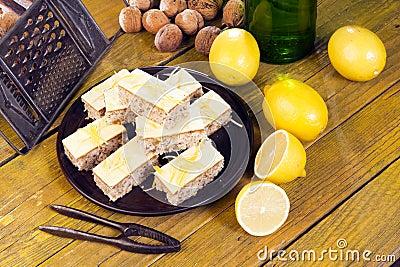 Homemade cakes, tastefully offering plate.