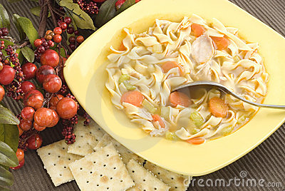 Homemade Chicken Noodle Soup with Crackers