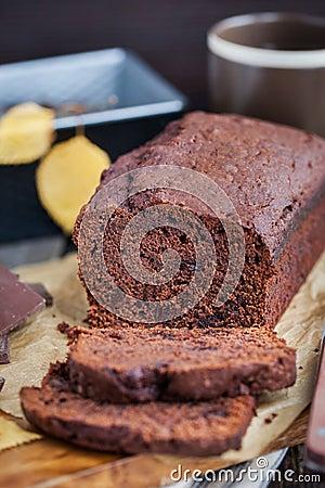 Free Homemade Chocolate Banana Loaf Cake Royalty Free Stock Image - 60870866