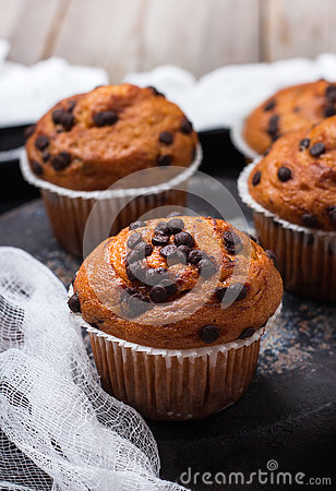 Free Homemade Chocolate Chip Spicy Muffins Cake For Breakfast Royalty Free Stock Image - 77492386