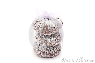 Homemade chocolate cookies wrapped in ribbon