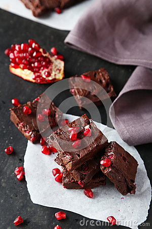 Free Homemade Chocolate Fudge With The Pomegranate Royalty Free Stock Photo - 50058705