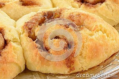 Homemade cinnamon buns closeup