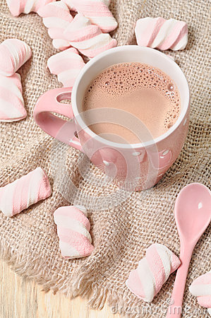 Homemade cocoa drink with marshmallows