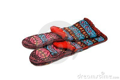 Homemade colorful wool socks isolated