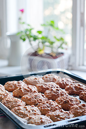 Homemade cookies on a baking tray