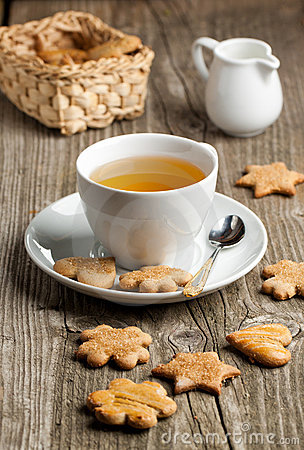 Homemade cookies and cup of tea