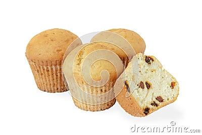Homemade cupcakes with raisins.