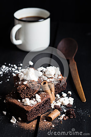 Free Homemade Double Chocolate Cake With Crushed Meringues, Wafer Rolls And Coffee Stock Photography - 49340642