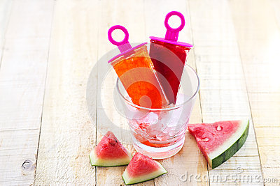 Homemade Frozen Popsicles Made With Watermelon On Ice In