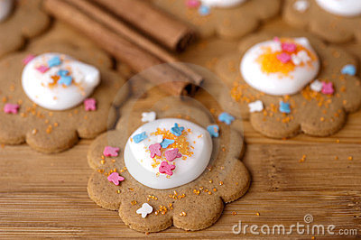 Homemade gingerbread cookies with  icing