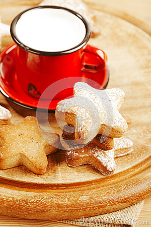 Homemade gingerbread  star cookies with  milk