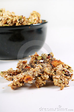Homemade granola in a black bowl