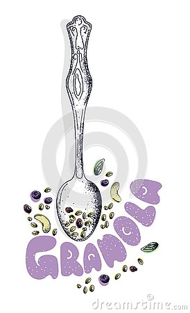 Homemade granolain spoon witn honey, nuts and raisins. Hand drawn vector illustration. Isolated menu design item Vector Illustration