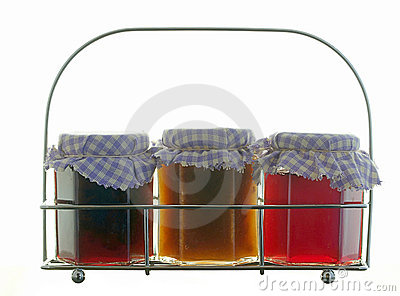 Homemade jams in a steel rack