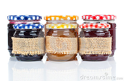 Homemade jars with jam