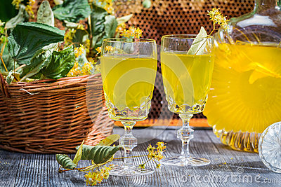 Homemade Liqueur Made of Honey And Lime Stock Images - Image: 33356344