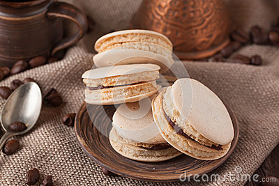 Homemade macaroons on plate
