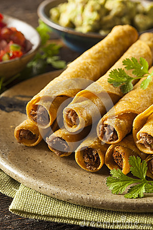 Free Homemade Mexican Beef Taquitos Royalty Free Stock Photo - 41513295