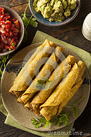 Free Homemade Mexican Beef Taquitos Stock Photography - 41513342