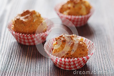 Homemade muffins with ham and cheese