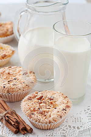 Homemade muffins with milk