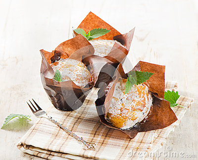 Homemade Muffins with mint