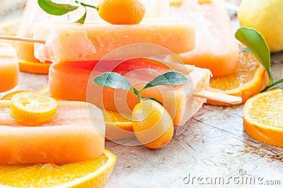 Homemade Orange Popsicles Stock Photo Image 52139739