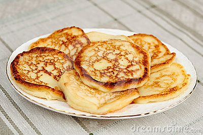 Homemade pancakes with almonds