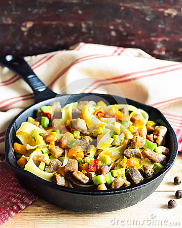 Free Homemade Pappardelle Pasta Dish With Pumpkin, Avocado, Chili Pepper And Pork Meat Royalty Free Stock Photo - 92975335