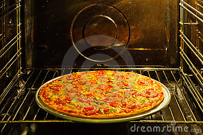 Homemade pizza in oven
