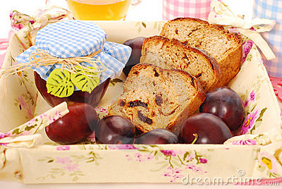 Homemade  plum and honey bread