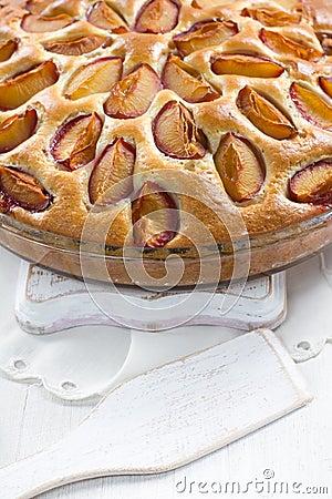 Homemade plum pie