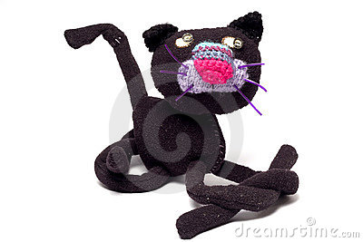 Homemade puppet - a cat