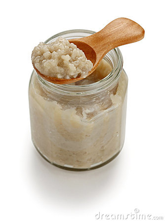 Homemade salted rice malt in jar, japanese condime