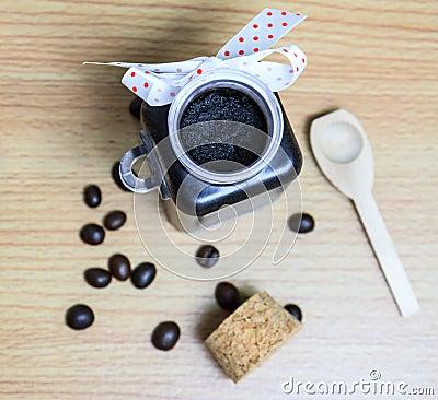 Homemade skin coffee scrub for spa.